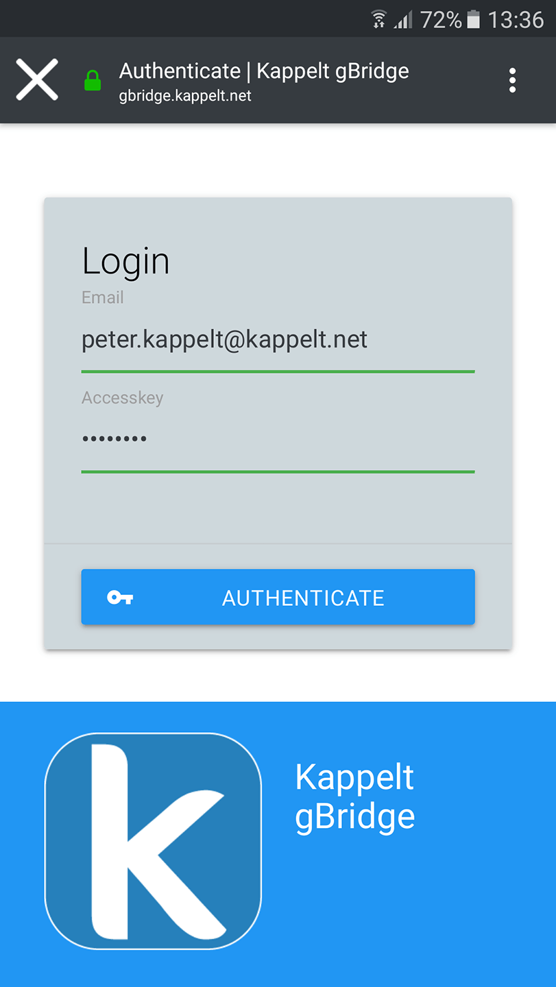 Account linking login page.