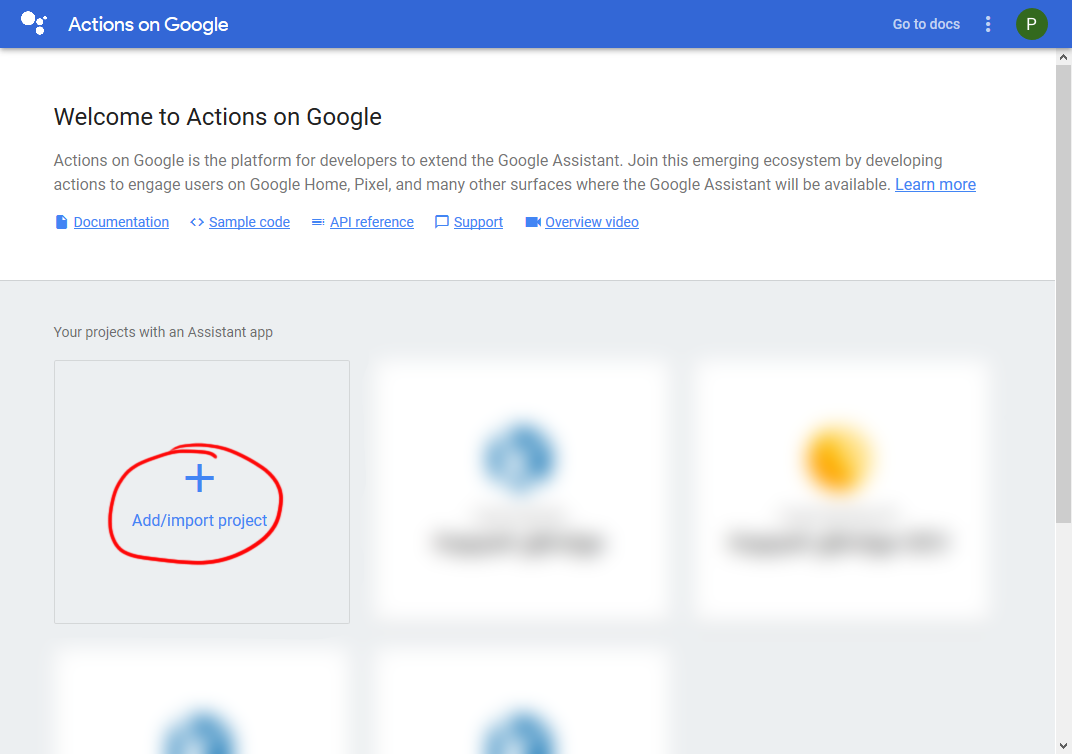Project Overview in Google Actions Console.