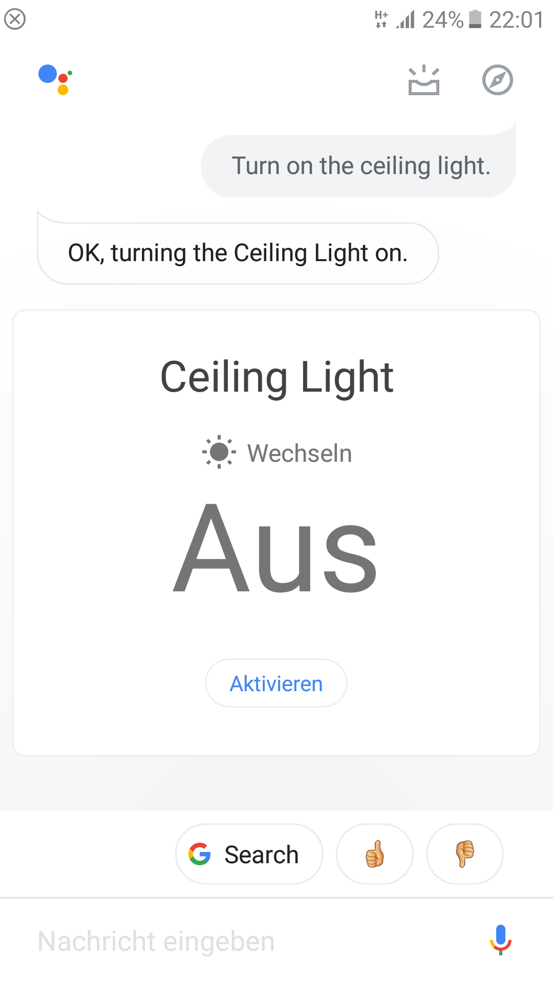 Node-RED Google Assistant command.